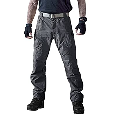 TACVASEN Men's Water Repellent Quick Drying Lightweight Cargo Pants Military Durable Trousers Gray,38