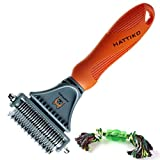 HATTIKO Pet Grooming Tool - Dematting Brush for Dogs & Cats with 2...