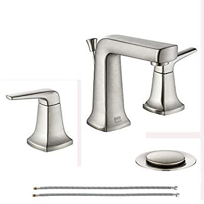 ENZO RODI Brushed Nickel Bathroom Faucets 3 Holes, Two Handle Widespread Bathroom Sink Faucet with Lift Pop-up Drain Assembly, ERF2392426AP-10