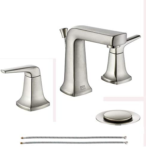 ENZO RODI Brushed Nickel Bathroom Faucets 3 Holes Two Handle Widespread Bathroom Sink Faucet product image