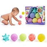 WolinTek Jouets pour bébés Boules d'empilage 6 pièces Boules sensorielles pour bébés Soft Hand Ball Grip Ball Sensor Ball Set Textured Multi Ball Set pour enfants Balle éducative