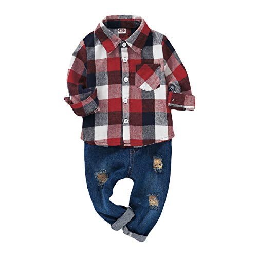 2Pcs Baby Boys Girls Toddler Infant Red Plaid Flannel Shirt Elastic Waist Ripped Holes Soft Jeans Outfit Set (12-18 Months, Red/Grey)