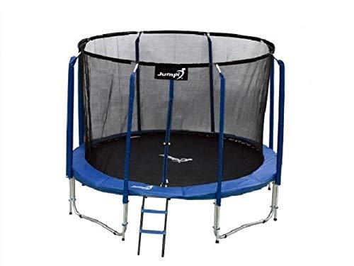 Trampolín 244cm,Entretenimiento Familiar,de jardín 8 FT Maxy Comfort, recinto de Seguridad con Malla Interior Especial,muelles de césped, Escalera, colchoneta para Saltar, para niños y Adultos (Azul)