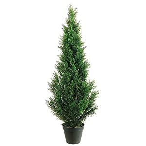 Silk Tree Warehouse Company Inc One 3 Foot Outdoor Artificial Cedar Topiary Tree Potted UV Rated Plant