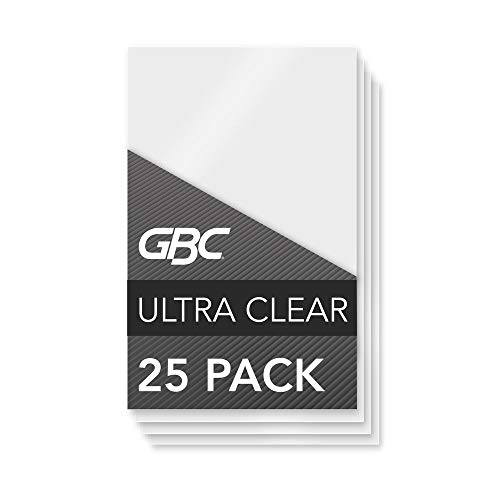 GBC Laminating Sheets, Thermal Laminating Speed Pouches, Index Card Size, 5 Mil, HeatSeal UltraClear, 25 Pack (3202002)