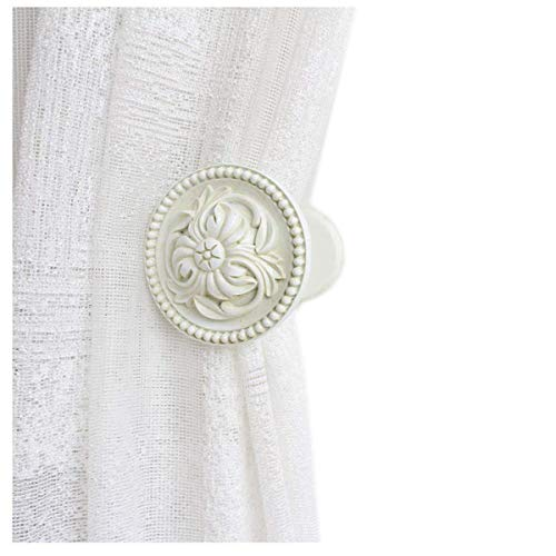 YING CHIC YYC 2Pcs Retro Flower Medallion Drapery Holdback Curtain Wall Hook Curtain Rod (White)