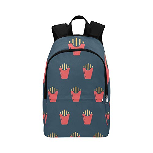 Limiejo Women Bag College French Fries Fast Food Creative Durable Water Resistant Classic Backpacks for Men College Bag for Girls Designer Bookbag Best Daypack
