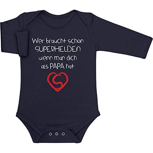 Shirtgeil Wer Braucht SUPERHELDEN Wenn Man Dich Als Papa Hat Baby Langarm Body 3-6 Monate Marineblau