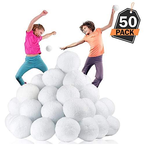 XL 50er Pack große Schneebälle / Kunstschnee / Dekoschnee für Zuhause mit echtemKnirschen für den ultimativen Schneeballkampf. 7.7Cm, kein Durcheinander, kein Matsch, kein Schmelzen & Stunden von Spaß