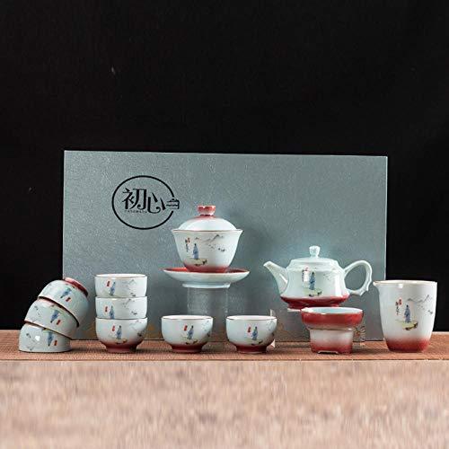Ksnrang Juego de té Azul y Blanco Horno Que Gira el Juego de té Rojo Juego de té Juego de té Regalo Logotipo Personalizado Juego de té casero Juego de té-13 Cabezas para Ver el Mundo