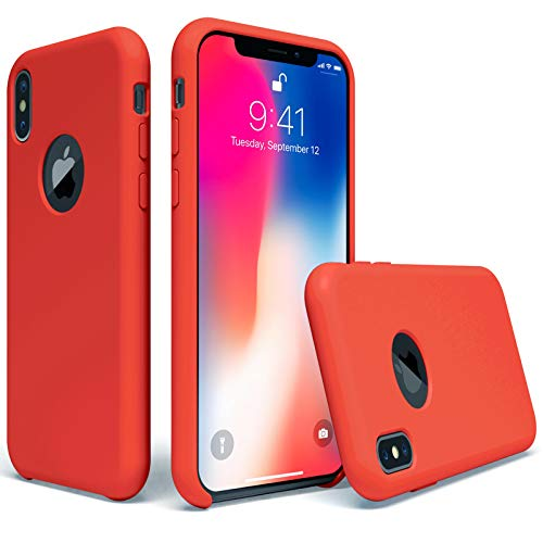 UGT iPhone X Case, Liquid Silicone Rubber Slim Shockproof Case Microfiber Cloth Lining Compatible with Apple iPhone X 5.8 inch, Red