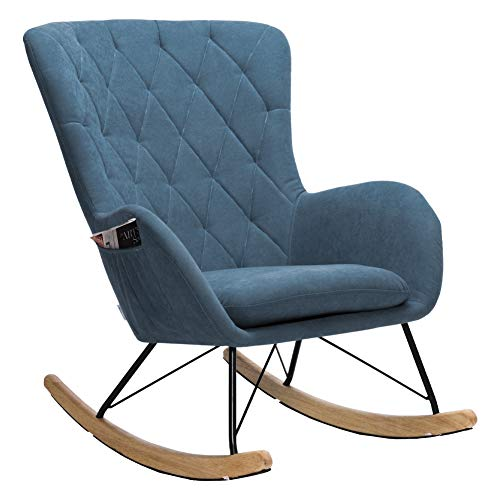 INMOZATA Relax Rocking Chair Comfortable Linen Fabric Rocker Relaxing Chair Traditional Arm Rest Lounge Chair with Fabric Cushion (Blue)
