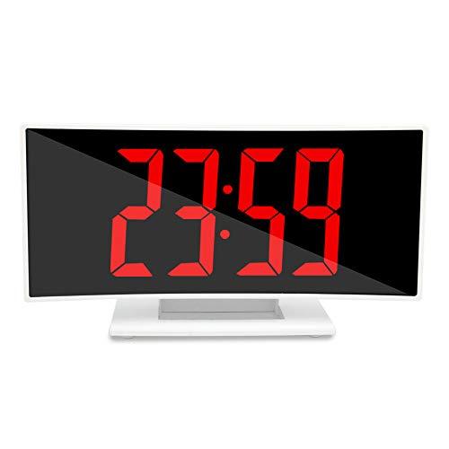 LUOYLYM Kreative Neue Gebogene Led Elektronische Digitalanzeige Uhr Multifunktions Snooze Wecker Student Nacht Wecker