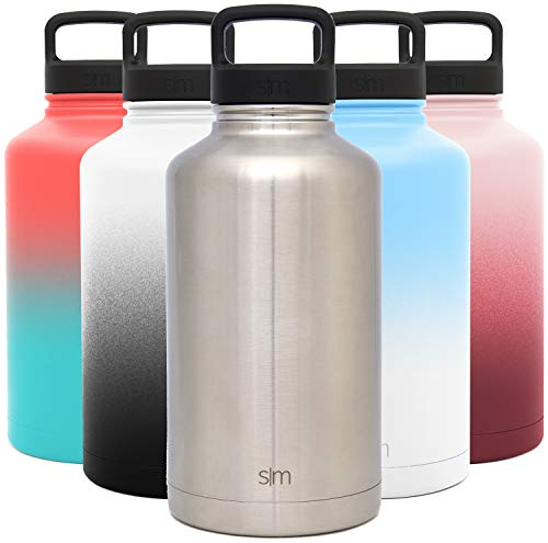 Simple Modern 64 Ounce Summit Water Bottle - Large Stainless Steel Half Gallon Flask +2 Lids - Wide Mouth Double Wall Vacuum Insulated Silver Leakproof -Simple Stainless