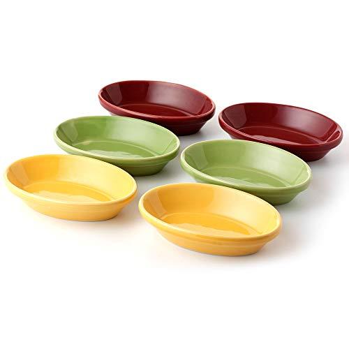 Platos Ovalados para Servir Tapas - Juego de 6 |platos de Tapas o platos Ramekin construidos con un revestimiento cerámico antiadherente y duradero. | De Jean Patrique