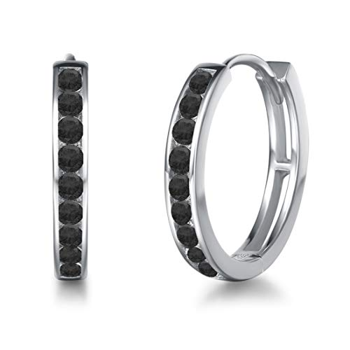 Creolen Ohrringe 925 Sterling Silber mit Zirkonia Sleeper Hoop Earrings Huggie Kreolen Ohrschmuck für Damen, Durchmesser 18 mm - Schwarz