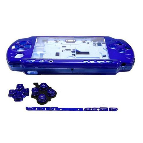 OSTENT Full Housing Shell Faceplate Case Parts Replacement Compatible for Sony PSP 2000 Console Color Blue