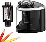 UrMsun Sacapuntas eléctricos, sacapuntas portátil para niños, hoja para afilar rápidamente, adecuado para n. ° 2 / lápices de colores (6-8 mm) / sacapuntas escolares/aula/oficina/hogar (Negro)