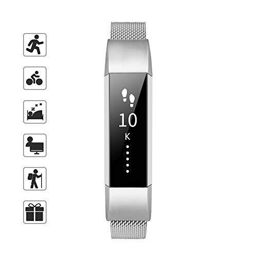 Tomall Metall-Armbänder, kompatibel mit Fitbit Alta und Alta HR, Edelstahl-Metall-Ersatz-Armband für Damen und Herren, Other, silber, Größe S