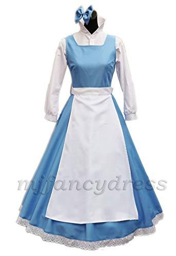 MJPARTY Disfraz para mujer Belle Blue Dress Disfraz de cuento de hadas azul para mucama (Femenino, XL)