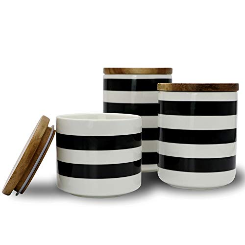 Sunddo Ceramic Canister Set with Bamboo Lid Perfect Coffee Tea Food Storage Candy Sugar Canisters - Modern Design Porcelain Jar Kitchen Container,Gift for Women,Round White and Black Set of 3