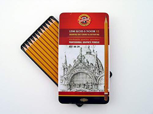 Koh-I-Noor 1502 Art - 12 gelbe Bleistifte/Graphitstifte - Härtegrade 8b-2h