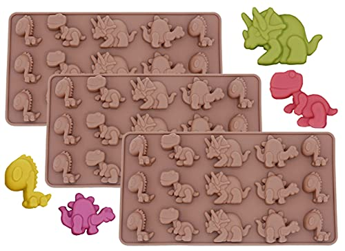 PopBlossom Brown Dinosaur Silicone mold 3 Pack Dino Chocolate Molds Ice Cube Soap Tray Silicone Party