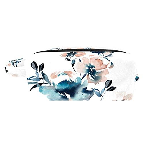 Make Up Tasche Kulturbeutel Tragbar Reise Schminktasche Kosmetiktasche Mit wasserbeständig und strapazierfähigem Rosa Blaue Blume 18.5x7.5x13cm