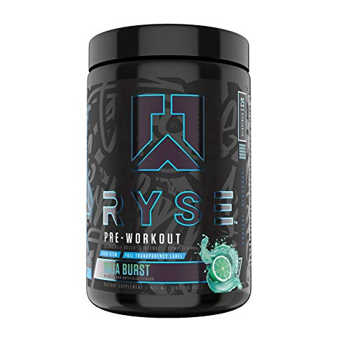 Ryse Blackout Pre-Workout | Ryse Up Supplements | Fuel Your Greatness™ | Energy, Endurance, Focus, Next Level Pump, Beta Alanine & NO3-T® Betaine Nitrate, 25 Servings (Baja Burst)