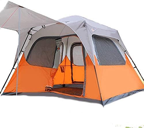 JSL Toldo para tienda de campaña para camping, automática, impermeable, para 3 a 4 personas, fácil de configurar y embalar, color verde (naranja + gris)