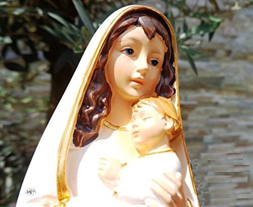 ÖLBAUM 40-42 cm Handbemalte Madonna, weiß/Gold, Heilige Maria - große Mutter Gottes mit Kind, mit weißem Kleid/Umhang, Saum Gold Farben, Weiße Madonna als Symbol von Unschuld und unbefleckter