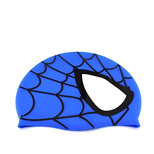 Avril Tian Cuffia da nuoto unisex ed impermeabile, in silicone, a tema uomo ragno, anche per chi ha i capelli lunghi, per bambini, ragazzi e ragazze, per sport acquatici Blue