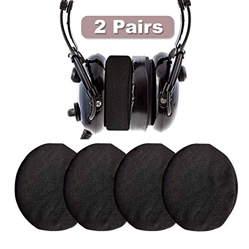 Headphone Covers, Ancable 2-Pairs Washable Flex Headset Earpad Cloth Cover for Gym, Training, Aviation, Racing, Gaming, etc More Over The Ear Headphones (Black)