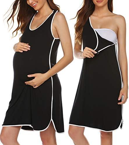 Ekouaer Ultra Soft Maternity Nursing Pajamas Sleepwear Dress Black X Large product image