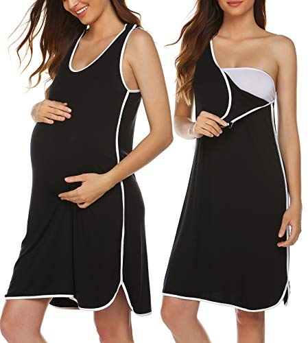 Ekouaer Ultra Soft Maternity/Nursing Nightgown Dress, Breastfeeding Nightwear Black M