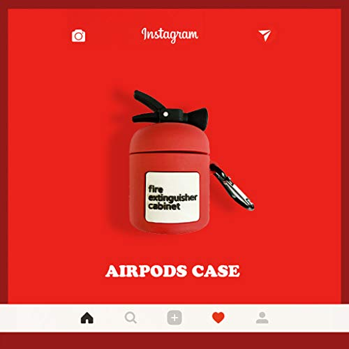 lehaha Fire Extinguisher Pattern Protective Case, Silicone Cover with Carabiner Compatible with Airpods 1/2