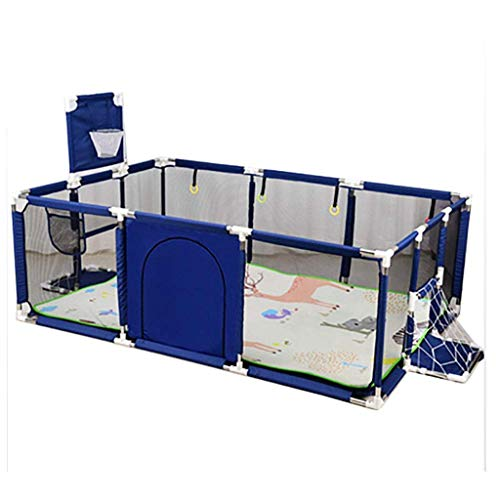 AWJ Kids Playpen Portable Kids Safety Play Center Yard Home Indoor Fence Anti-Fall Play Pen Toddler Boys Girls Fun Time Mattress Safety Door Activity Center