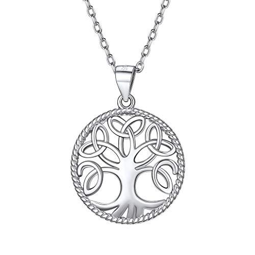 Silvora Medalla Plata Arbol de Familia para Madre Novia Mujer con Nudos Celta
