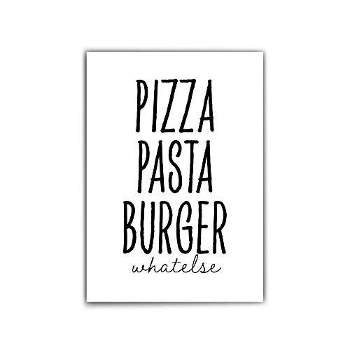 Poster Essen – din a4 | 30x40 cm – Typographie – Pizza Pasta Burger | whatelse – Küchen Motiv - schwarz-weiß - mattes Fotopapier 210 g/m² - ohne Rahmen