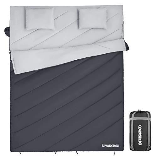 FUNDANGO - Saco de Dormir Doble para 2 Personas, con sobre, Compacto, Impermeable, cálido, Ideal para Acampada, Senderismo y Senderismo