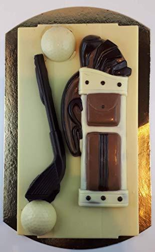 04#121020 Golf Set, Schokoladen ca. 450 gr. auf VOLLMILCH ODER ZARTBITTER PLATTE, liegend, Golfer, Golfspieler,Muttertag, Geburtstag, Geschenk, NEU …