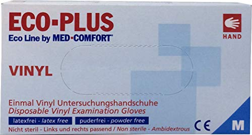 Eco Plus Vinyl Einweghandschuhe, puderfrei, Größe M