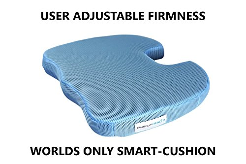Smart-Cushion Premium Seat Cushion. User Adjustable Comfort. Never Bottoms Out. Self-Inflating Air/Foam Technology. Coccyx Cutout, Relieves Sciatica, Back/Tailbone Pain. Free Carry Bag (1)
