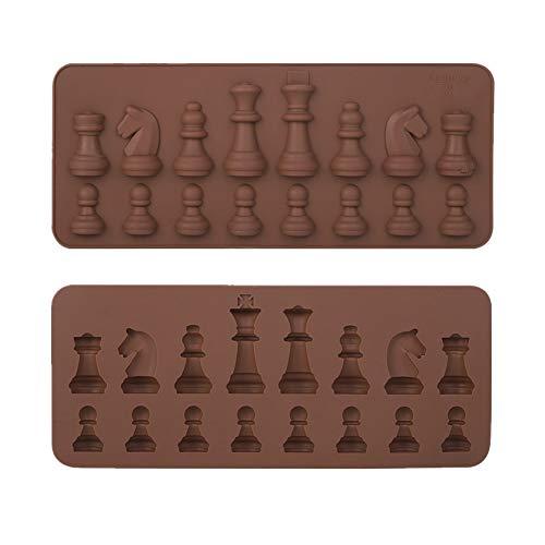 2 piezas molde de chocolate de silicona formas de ajedrez internacionales pastel gelatina hielo fondant molde molde para hornear para bricolaje decoración de la torta de caramelo