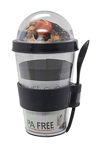 MIK Funshopping Joghurtbecher, Müslibecher, Müsli to Go Becher, Müsli Cup, inkl. Löffel, 400 ml, BPA frei (anthrazit)