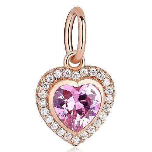 FeatherWish - Charm pendente a forma di cuore, in argento sterling 925, color oro rosa con zirconia cubica e cristallo, compatibile con braccialetti Pandora e bracciali e collane con charm da 3 mm