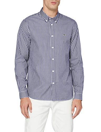 Lacoste CH2936 Camicia Elegante, Bianco/Sfera, 41 EU Uomo