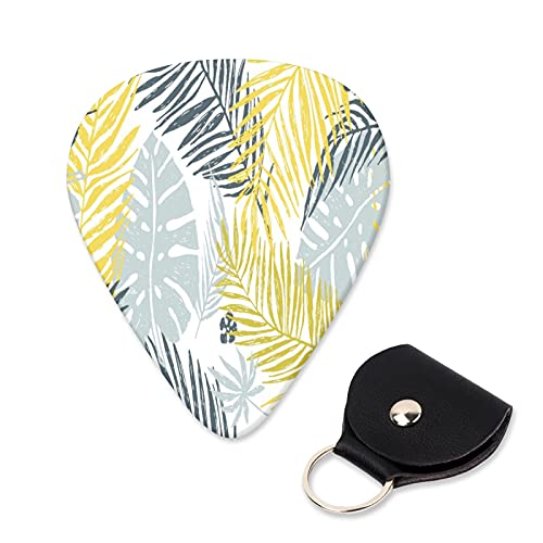 EILANNA Guitar Picks Seamless exotic pattern with yellow gray palm leaves on white background Trendy Guitar Plectrums for Your Electric,Acoustic,Ukulele,or Bass Guitar,Guitar Pick Grip 6pcs
