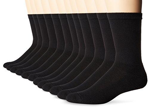 Hanes Men's FreshIQ X-Temp Active Cool Crew Socks, 12-Pack, black-Shoe Size: 6-12