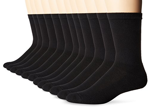 Hanes Men's FreshIQ X-Temp Active Cool Crew Socks, 12-Pack, black, Shoe Size: 6-12